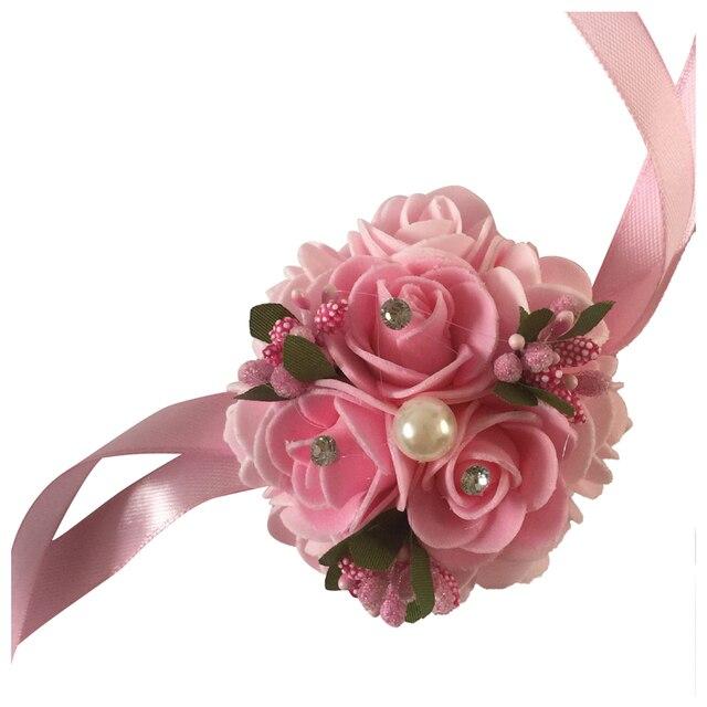 1pc High Quality Handmade Wedding Wrist Flower Bride Bridesmaids Wrist  Corsages Bridal Wrist Bouquets Wedding Supplies 922e21259d20