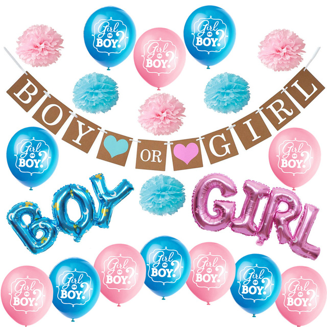 Zljq Gender Reveal Party Supplies Kit Boy Or Girl Baby Shower