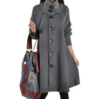 Autumn Winter Women Wool Coat Blends Turtleneck Womens Red Grey Black Plus Size Fashions Coat Long Loose Cloak Fur Thick Coats