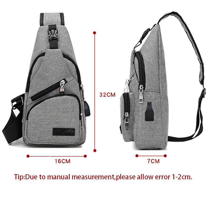 27dd125aa5243 ... Men Anti Theft Canvas Backpack USB Rechargeable Chest Bag Casual Men  Women Chest Shoulder Bag s ...