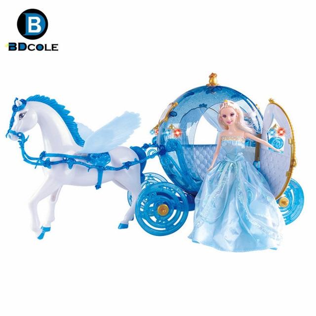 livraison gratuite rveur flash led bleu citrouille transport avec pegasus cheval poupe pour barbie bjd poupe - Barbie Cheval