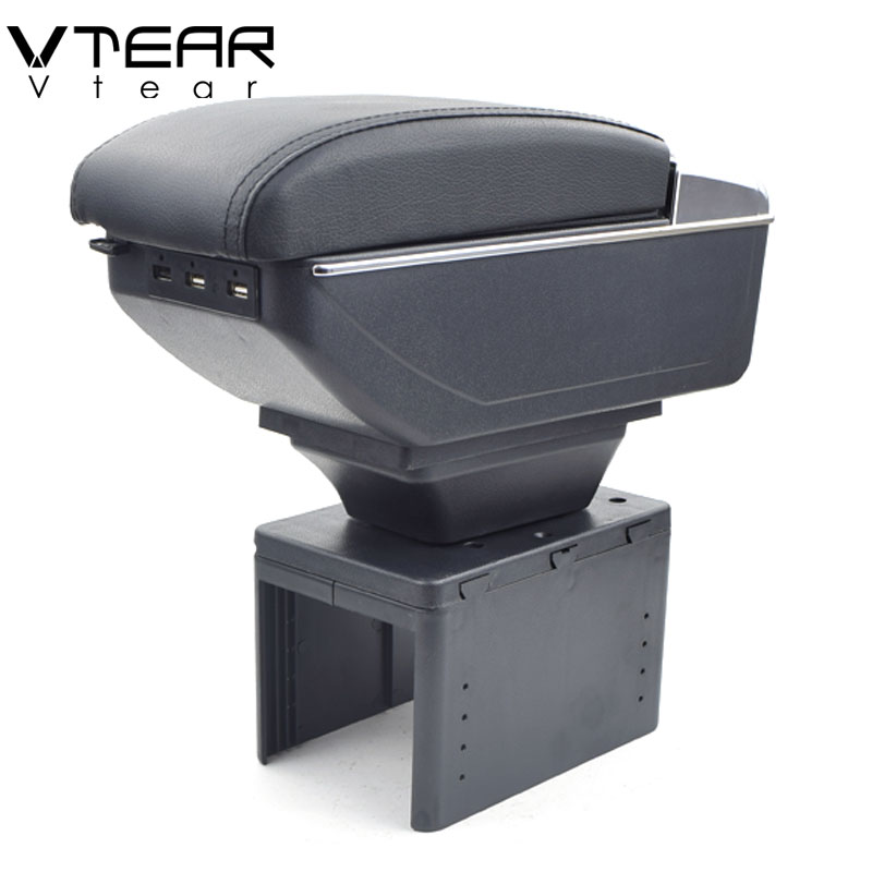Vtear For vw Passat b5 armrest box USB Charging heighten Double layer central Store content cup