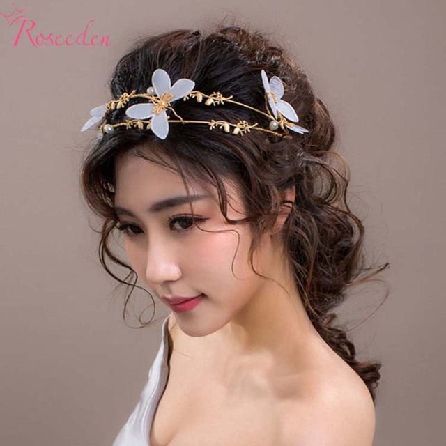 double band gold plated wedding hairband bridal white flowers headress  hair ornaments women wedding party accessories RE618