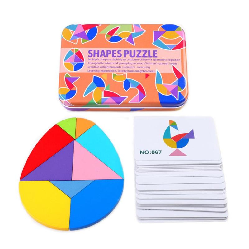 Kids Wooden Variable Tangram Jigsaw Puzzle Toys Chiladen Wood Brick Assemble Board Game Set Baby Brain Training Education Tools