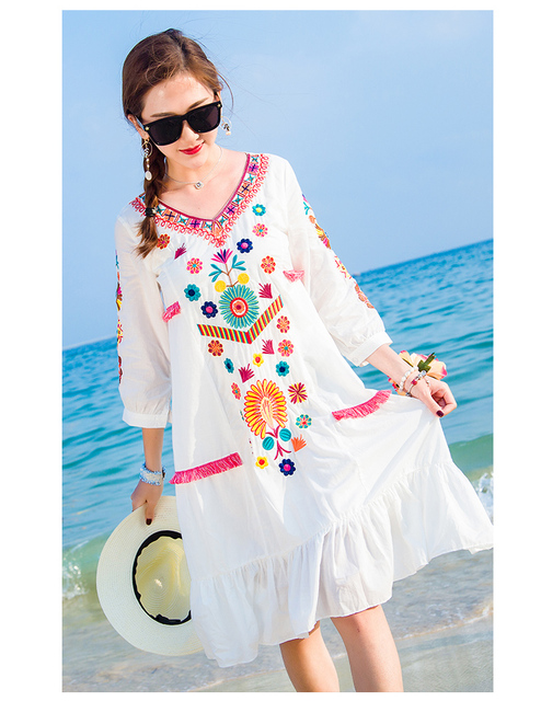 b17d077838f33 US $22.99  Free Shipping Hot Sale Women Vintage Ethnic Floral Embroidered  Spliced Long Casual Boho Chic Boho Dress-in Dresses from Women's Clothing  on ...