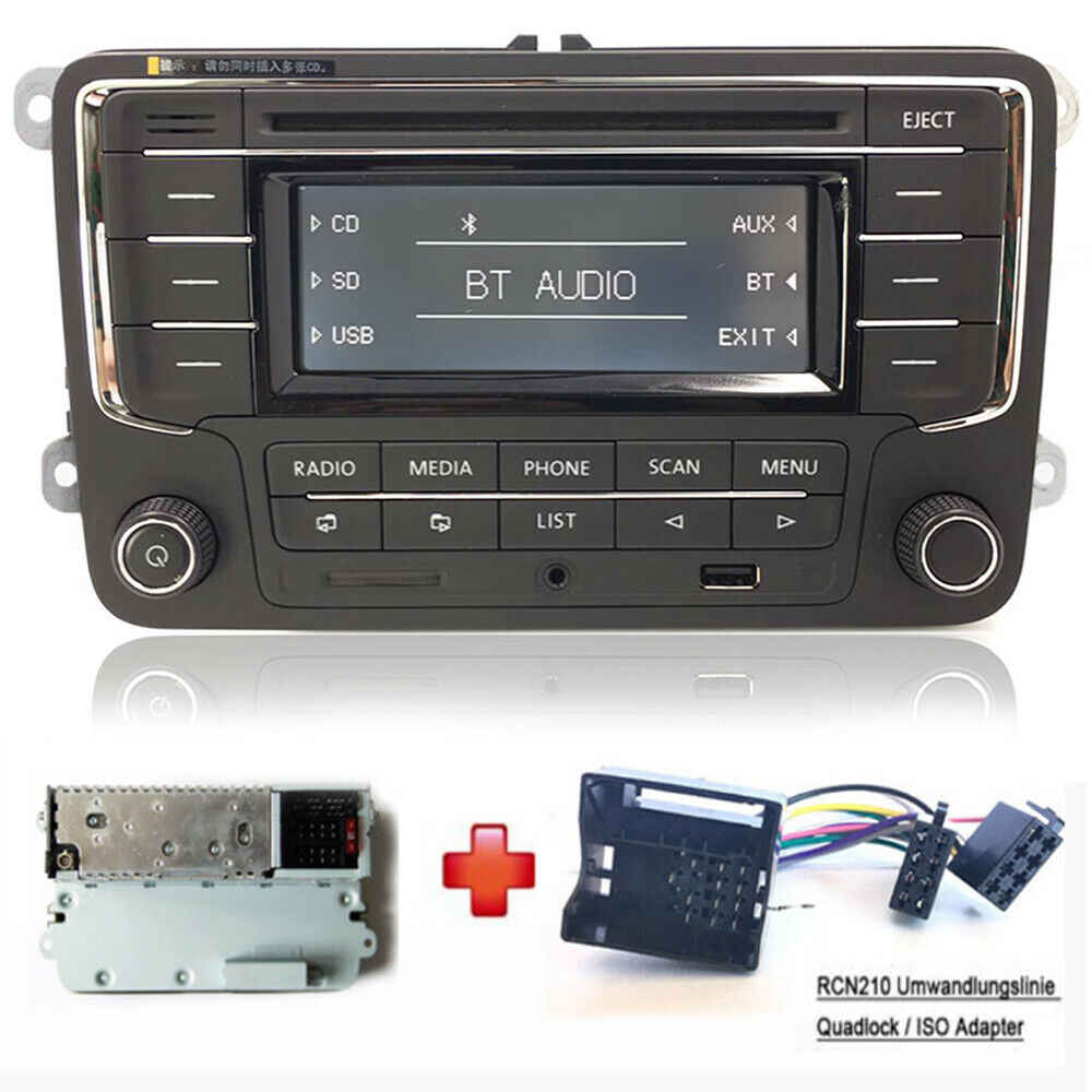Auto Radio Stereo RCN210 + Cabel Bluetooth CD MP3 USB AUX SD voor Volkswagen GOLF PASSAT TOURAN POLO TIGUAN CADDY EOS CC