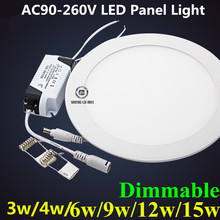 Dimmable Ultra thin Design 3W 4W 6W 9W 12W 15W 18W LED SMD 2835 Ceiling Recessed Grid Downlight / Slim Round Flat Panel Light