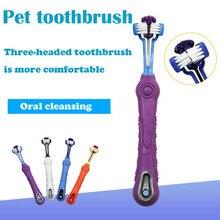 Зоотоваров зубная щетка для животных собака три зубная щетка любимчика Очистка полости рта большой зубная щетка для собак