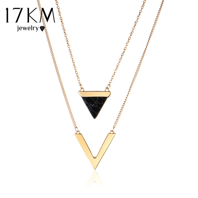 17KM V Letter Shape Triangle Stone Double Layer Geometric Pendant Necklaces Bijo