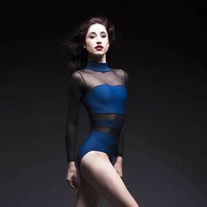 Image 1 - Erwachsene Ballett Tanz Trikot Zurück Hohl Gaze Spandex Splice Dancewear Aerial Yoga High Neck Eng Yoga Kleidung Damen Ballerina