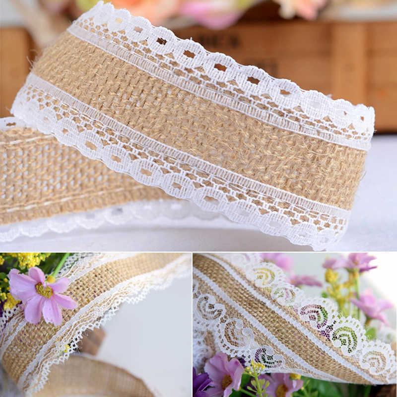 10 m DIY Tái Sử Dụng có thể gập lại Vải Đay Ribbon Linen Song Phương Móc Ren Handmade Hàng Thủ Công Đám Cưới Cuộn