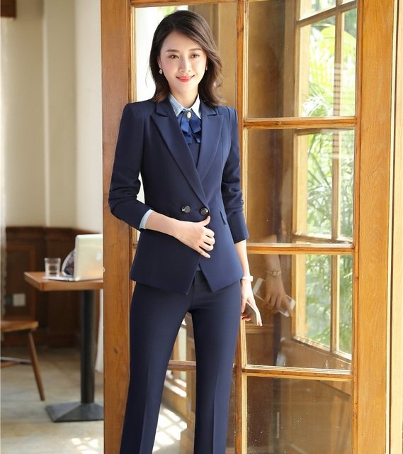 Formal Navy Blue Blazer Women Business Suits Pant And Jacket Sets