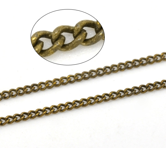 Antique Bronze Link-Soldered Curb Chains Findings 2x1.5mm, Sold Per Packet Of 2M New