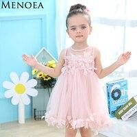 Menoea Cute Girls Dress 2017 New Summer Mesh Girls Clothes Pink Applique Princess Dress Children Summer
