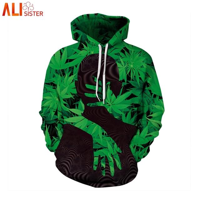 Alisister Weed Leaf Hoodie Sweatshirt Pullover