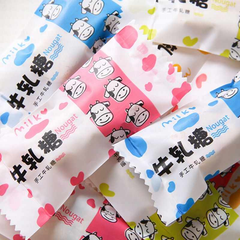 200PCS/Set Kawaii Styles Sugar Baking Package Nougat Milk Candy Inner Bag Plastic Machine Bag Cookies Food Cake Baking Gift Bags