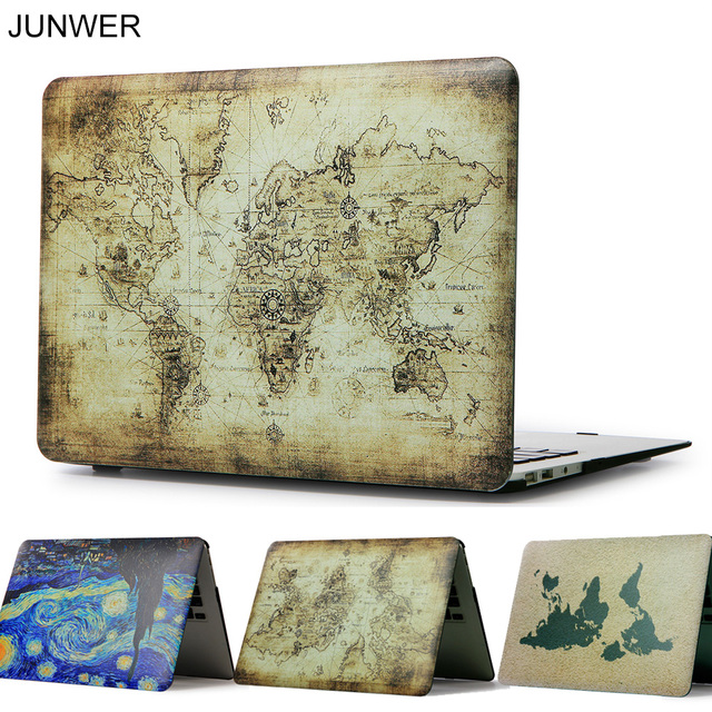 JUNWER Color Print Map Case For Apple Macbook Air Pro Retina 11 12 13 15 Laptop