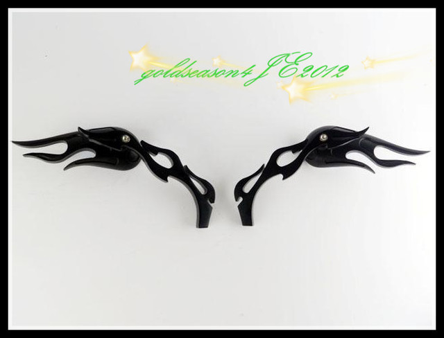 Freeshipping Flame Custom Side Mirrors w/Black  Motorcycle Street Sport Bike Cruiser Chopper