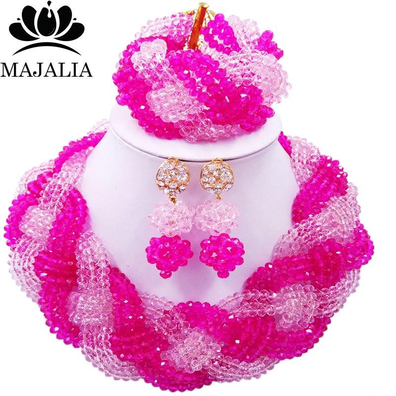 Majalia African Fashion Women Jewelry Set Hot pink peach Nigerian Wedding Jewelry Beaded Sets 12CB0018 majalia african fashion women jewelry set royal blue nigerian wedding jewelry beaded sets 12cb006