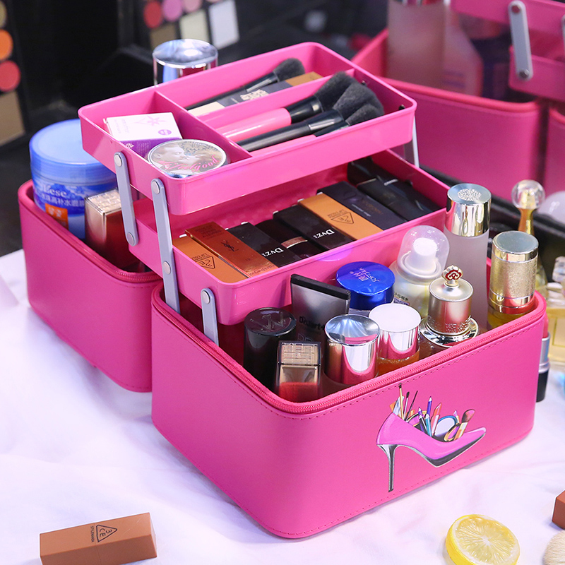 2018 High-end PU ladies cosmetic bags Large Capacity travel portable cosmetic storage box 2 Layer beauty Organizer makeup bag travel beauticians professional cosmetic makeup bag large capacity beauty organizer women portable makeup storage box neceser