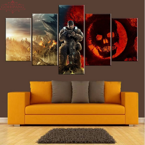 5 Pieces Game Gears Of War Wall Art Picture Modern Home Decoration Living Room Or Bedroom Canvas Print Painting Wall Picture