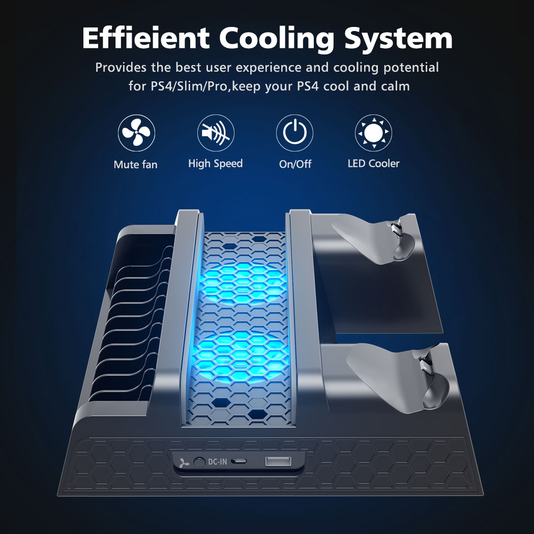 OIVO PS4/PS4 Slim/PS4 Pro Dual Controller Charger Console Vertical Cooling Stand Charging Station LED Fan For SONY Playstation 4 2