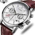LIGE メンズ腕時計トップブランドの高級カジュアルファッション腕時計メンズ革防水時計スポーツクォーツ腕時計レロジオ Masculino
