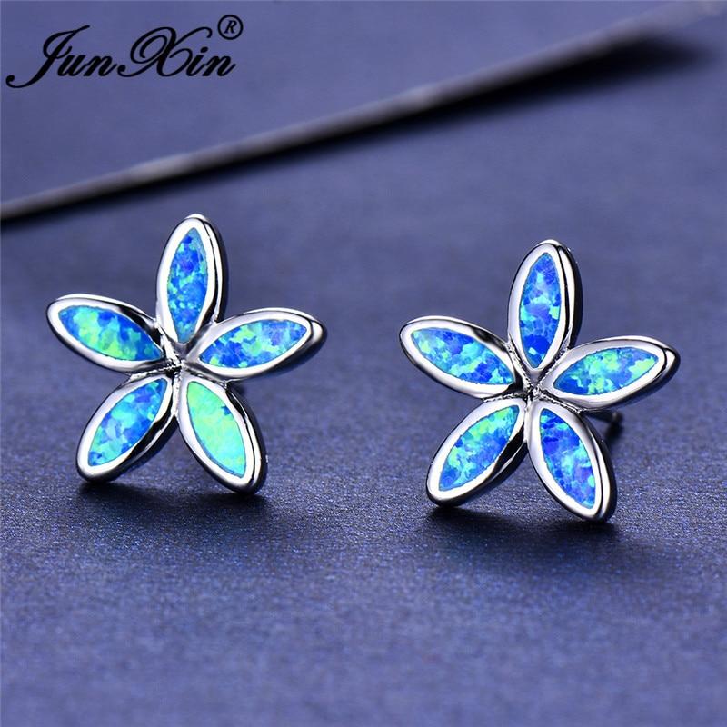 JUNXIN Female Blue White Fire Opal Snowflake Stud Earrings For Women Silver Color Flower Earrings Girls Jewelry