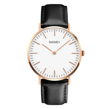 2016 New SKMEI Fashion Casual  Leather Wristwatches Luxury Brand Men's 30M Waterproof Quartz Simple Watch