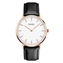 2016 New SKMEI Fashion Casual  Leather Wristwatches Luxury Brand Men's 30M Waterproof Quartz Simple Watch