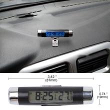 Sikeo 2 в 1 Автомобильный выход на вентиляционное отверстие автомобильные часы термометр клип-на цифровой термометр с фоновой подсветкой время часы автомобильный орнамент интерьер
