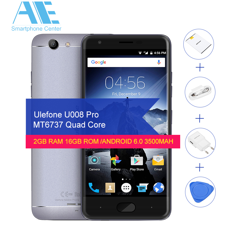 Цена за Оригинал ulefone u008 pro mtk6737 quad core android 6.0 смартфон 5.0 дюймов 3500 мАч 2 Г RAM 16 Г ROM Разблокировать 4 Г FDD Мобильного Телефона