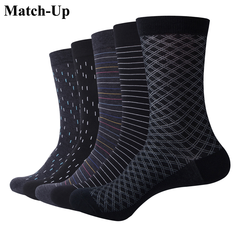 Match-Up Men's  Socks Color Cotton  For Business Dress Casual Funny Long Socks (5pairs/lot)