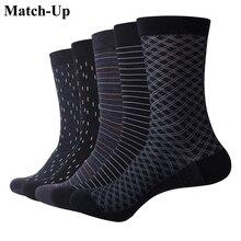 Мужские носки Match Up, цветные хлопковые для деловых платьев, повседневные забавные длинные носки (5 пар/лот)