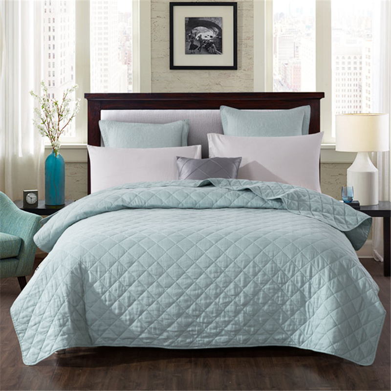 Solid Color Coverlets Bedspread Linen Cotton Multi-function Air Conditioning Summer Cool Quilt Yarn Dyed Modern Simple Style