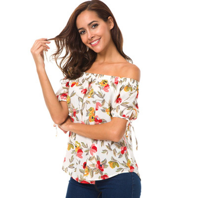 Feminine Blouses Off Shoulder Top White Ruffle Blouse Shirt Women Chiffon Flared Sleeve Womens Tops Floral Print Blouse Shirt