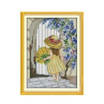 Flowers little girl-Kit de punto de cruz para decoración Del Hogar, niña...