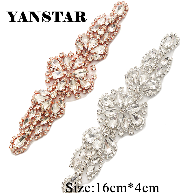 YANSTAR(5pcs) Wholesale Rhinestones Appliques For Wedding Dress Sash Rose  Gold Clear Crystal Rhinestones 360150d14877