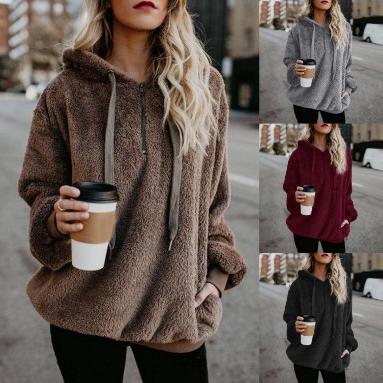 S-2XL women long sleeve hooded tops blouse pure color casual leisure winter autumn tops blouse