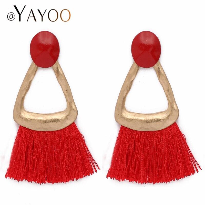 AYAYOO 7 Colors Gold Fashion Woman Earrings Vintage Tassel Dangle Fringe Earrings Long Ethnic Boho Brincos Wedding Earring
