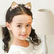 5 Pairs/lot Cute Hair Clips For Girls Glitter Rainbow Felt Fabric Flowers Hairpins Cat Ears Bunny Barrettes Kids Accessori