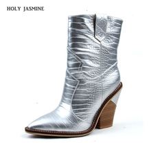2019 Fashion Brand Wedges Boots Ins Hot Style High Heel Western Boots Silver Women Shoes Plus Size 43 Retro Mid-calf Women Boots cdaxilan new arrival snow boots women down thickened plush boots warmth legs mid calf boots mid heel wedges shoes ladies winter