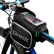 Sireck Bike Bag Black Nylon Waterproof Bicycle Bag Saddle Bags Touchscreen Phone Case Cycling Frame Tube Bag Bicycle Accessories