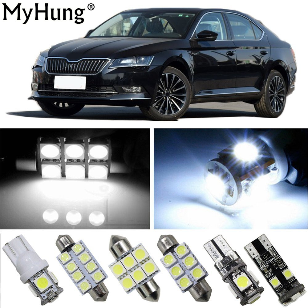 Interior Led Light For SKODA Superb Yeti Octavia2015-2017 Car Replacement Bulbs Dome Map Lamp Light Bright White 9PCS one pair car led interior lamp luggage compartment light case for audi vw skoda seat k 030901 freeshipping ggg