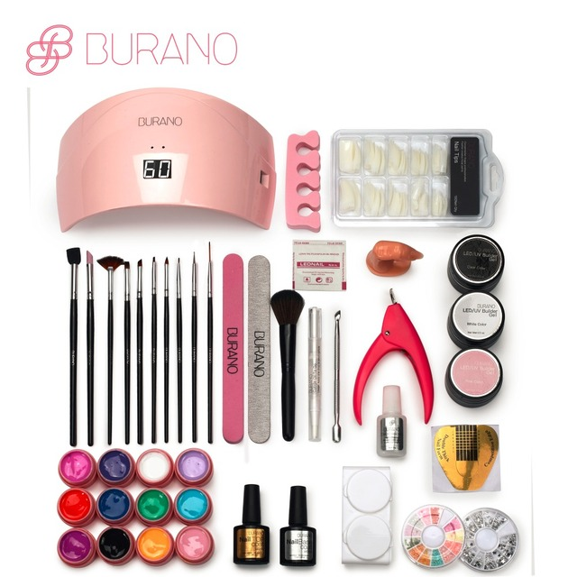 Burano Nail tools UV \LED GEL Lamp & 12 Color UV Gel Practice Fingers Cutter Nail Art Tool Kit Set manicure set 001
