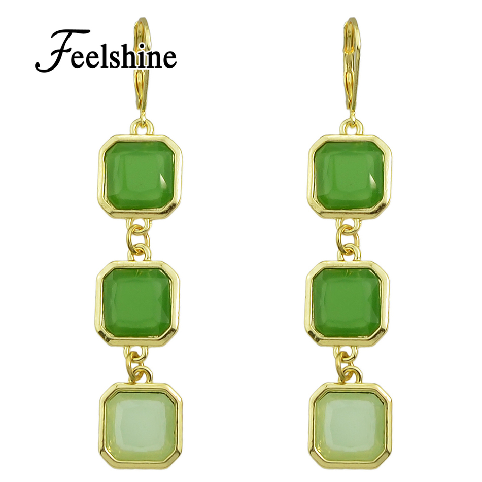 Costume Jewelry Earrings Gold Color With Green Resin Geometric Female  Earrings For Women On Sale