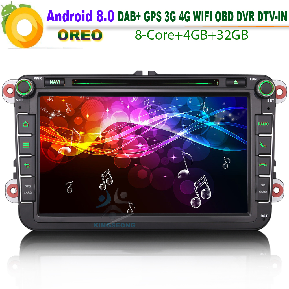 Android 8.0 DAB+ 8 Core Caddy Seat OPS Satnav Car Stereo WiFi Radio 4G CD BT DVD SD OBD GPS For VW polo passat golf Multivan T5