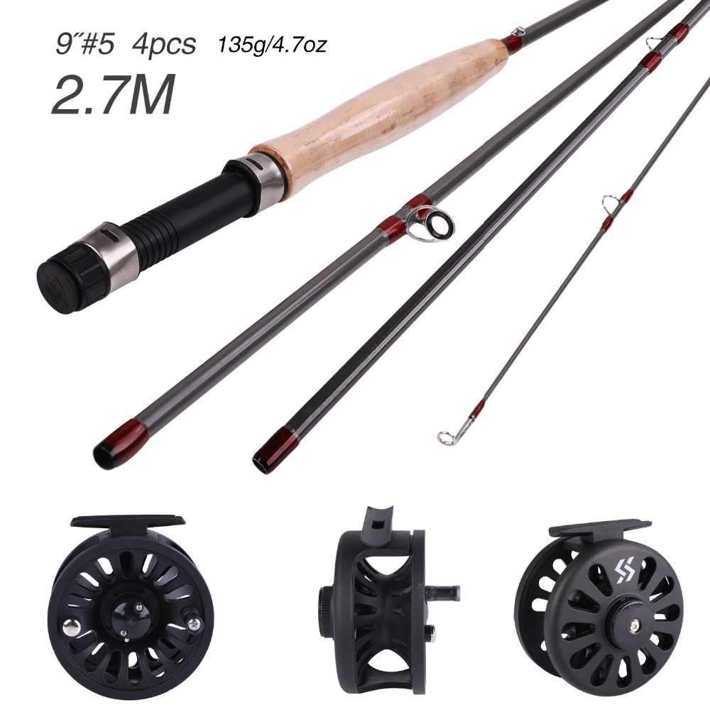 Sougayilang 2.7M 4 Section canne à pêche à la mouche et moulinet à mouche 4F 100FT pêche à la mouche LineCombo pour voyage en eau douce pêche au brochet