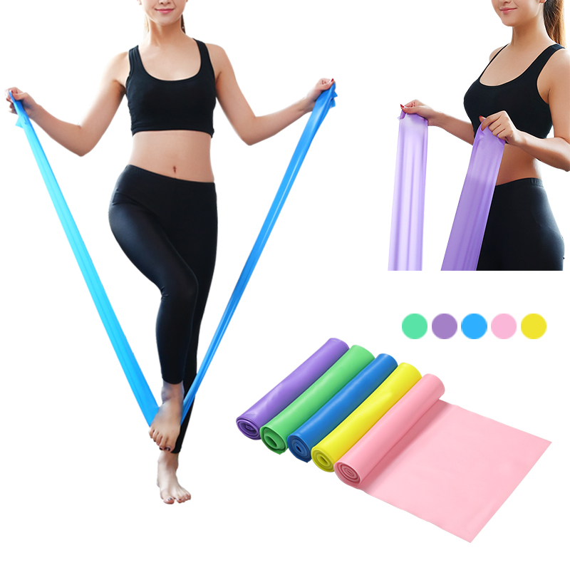 1 Pcs Gym Equipment 1.5M Yoga Pilates Rubber Stretch Strap Yoga Resistance Bands Elastic Sports Bands Exercise Strap Fitness