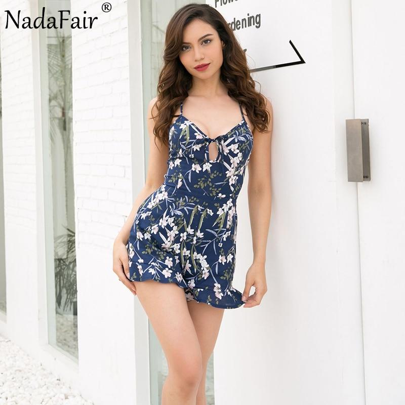 Nadafair Backless V Neck Strap Summer Playsuit Floral Print Casual Rompers Women Jumpsuit